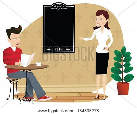 An illustration of a waitress showing a customer the menu board. Menu board is blank for your own message.