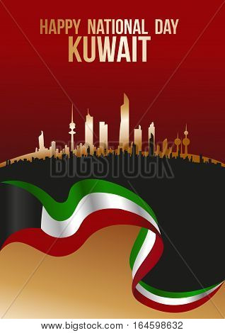 Happy National Day Kuwait - Flag And City Silhouette Skyline Poster