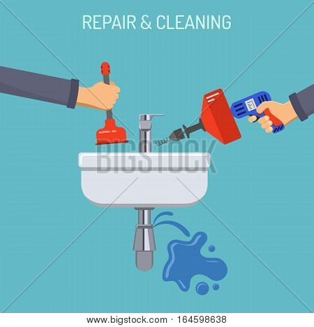 Plumbing Service concept Repair and Cleaning with sink, leakage, Tools and Device Flat Icons. isolated vector illustration.