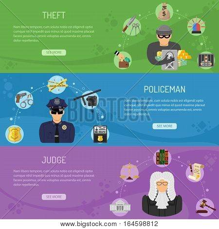 Theft Crime and Punishment Horizontal Banners with Flat Icons Thief, Policeman and Judge. Vector illustration