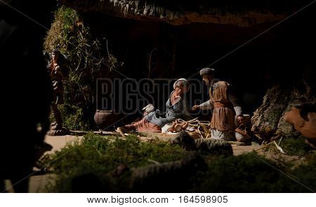 Scene of Jesus' Birth, Nativity Scene in Bethlehem.