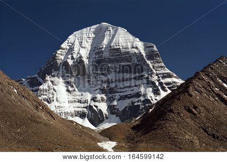 View to the North Face of sacred Mount Kailash in Western Tibet.