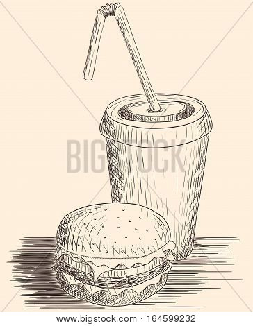 Hand drawn hamburger and cola drawn in sketch style