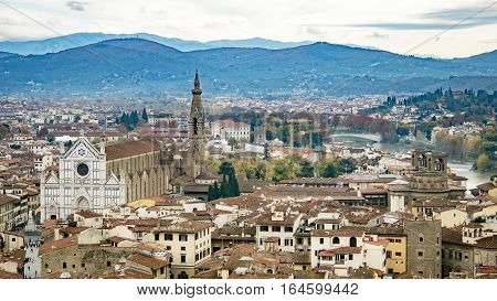 Beautiful aerial view of Florence from the observation platform Palazzo Vecchio. Basilica di Santa Croce di Firenze