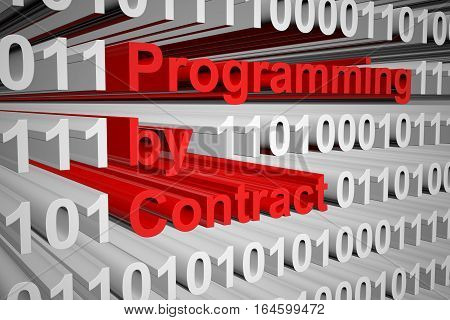 programming by contract in the form of binary code, 3D illustration