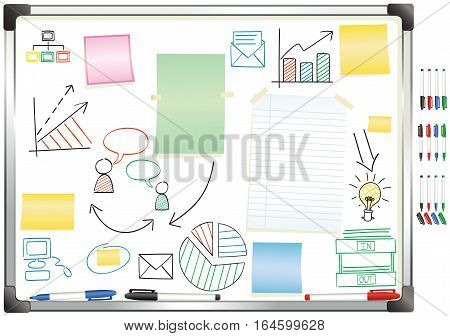 An illustration of a typical whiteboard. All paper and diagrams are isolated on a different layer and are movable.