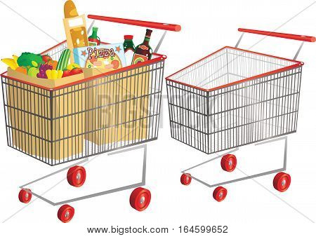 An illustration of a typical supermarket trolley - one full of goods, the other empty.
