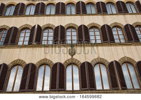 Italy. Florence the beautiful facade of the old European house