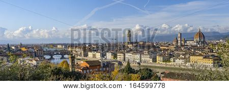 Italy. Florence. Panoramic view from Piazzale Michelangelo. Florence is the ancient city of the Italian region of Tuscany and of the Metropolitan City of Florence on the banks of the River Arno.