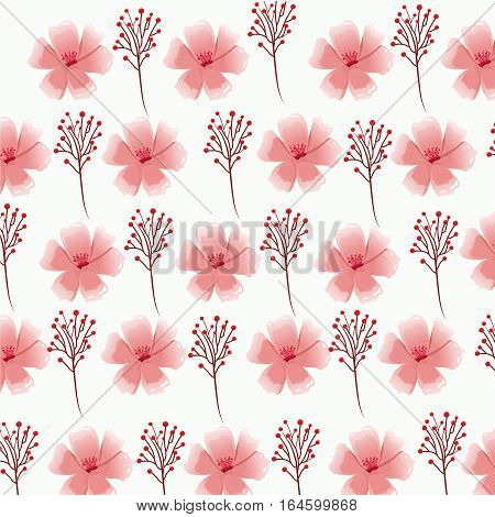pink flower foliage decorative seamless pattern vector illustration eps 10