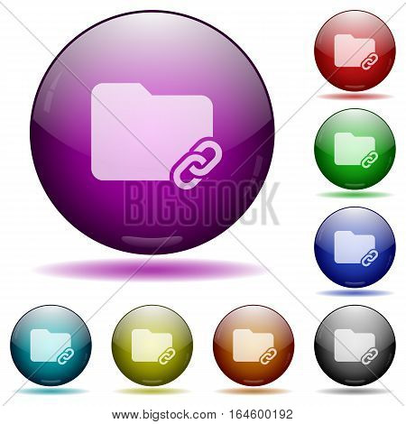 Folder link icons in color glass sphere buttons with shadows