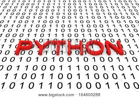 PYTHON in the form of binary code, 3D illustration
