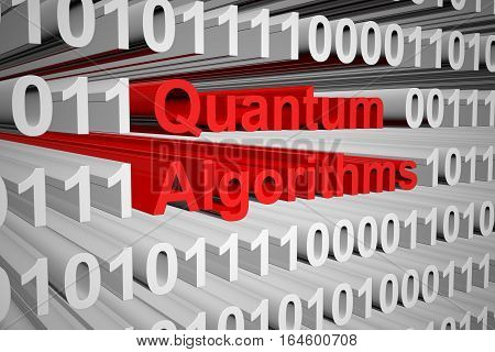 quantum algorithms in the form of binary code, 3D illustration