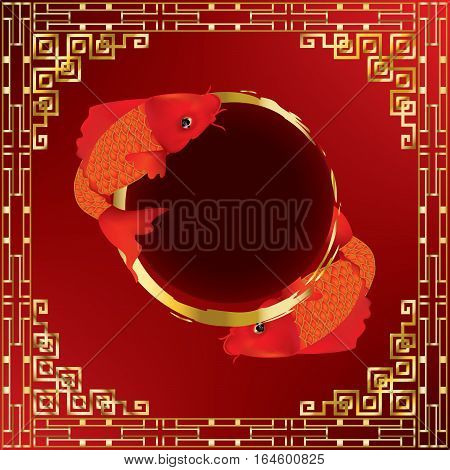 Greeting season with beautiful red Koi carps in gold and red pond