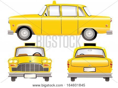 Three different illustrations of a yellow old fashioned taxi cab. Side, rear and front.