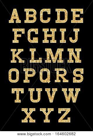 set of stylized gold textured letters with metallic sheen and stroke