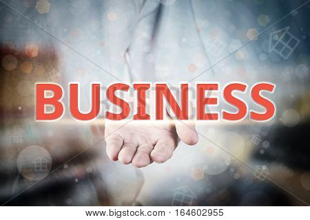 Man Hand Holding Business Text On Blurry Home Icon Property Background.