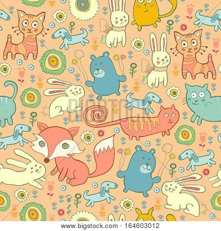Texture of the cute baby animals in children's style