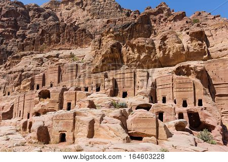 Groups of nabatean tombs and caves with decorative facedes