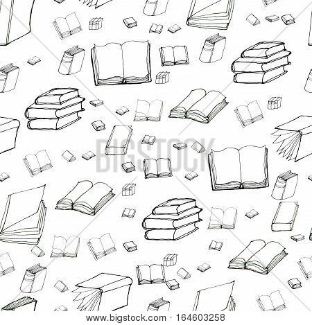 Seamless vector doodle pattern with books. Hand drawn black and white background. Reading and education.