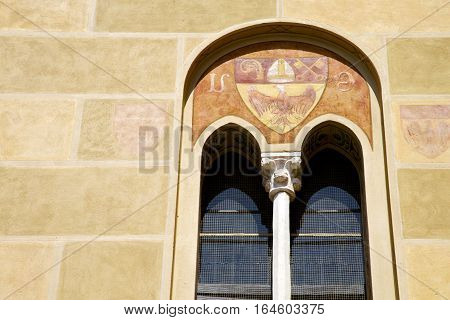 Tradate Italy Abstract  Window Monument Curch Mosaic  The Yellow
