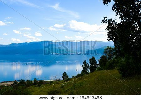 View On Lake Baikal And Beautiful Sky With Clouds. Siberia, Russia.