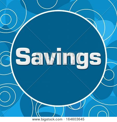 Savings text written over abstract blue background.