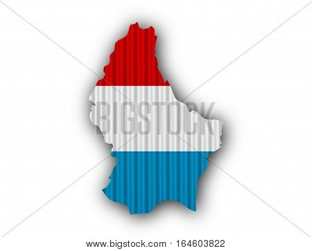 Map And Flag Of Luxembourg On Corrugated Iron