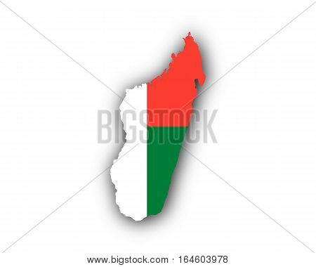 Map And Flag Of Madagascar