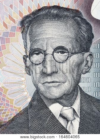 Erwin Schrodinger portrait from Austrian money - 1000 schilling