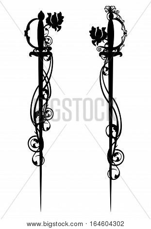 epee swords among rose flowers - black and white vector design