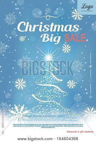 Vector Christmas big sale promotional blue poster with Christmas tree snowflakes and snowfall on the gradient background.