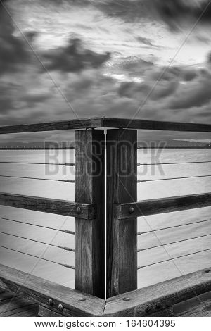 Woody Point Jetty. Black And White.