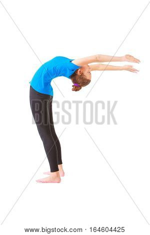 Beautiful Woman Doing Yoga On White Background
