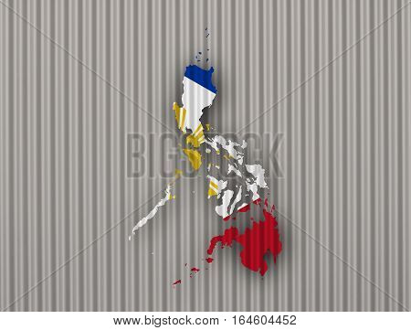 Map And Flag Of The Philippines On Corrugated Iron