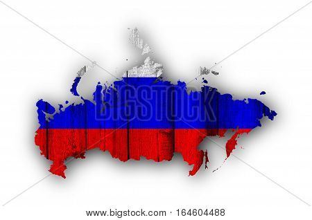 Map And Flag Of Russia On Weathered Wood
