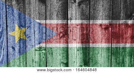 Flag Of South Sudan On Weathered Wood