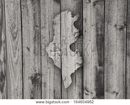 Map Of Tunisia On Weathered Wood