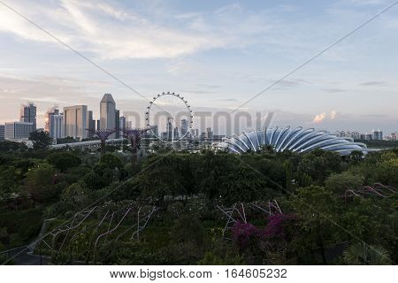 SINGAPORE,SEPTEMBER15,2016:Marina Bay Building Architecture scenery.A bay located in the central area of Singapore and 360 hectare extension to the adjacent central business district.
