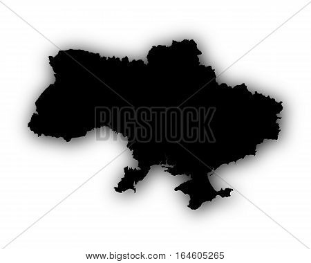 Map Of Ukraine With Shadow