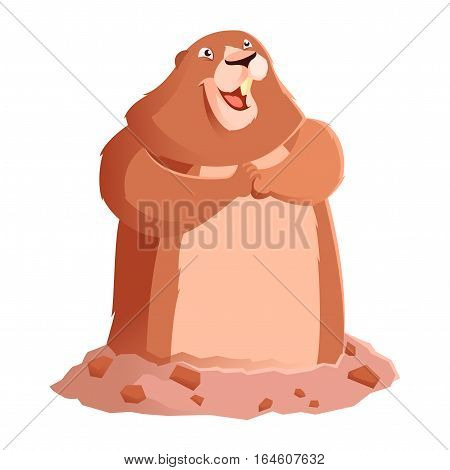 Vector image of the Happy smiling Groundhog