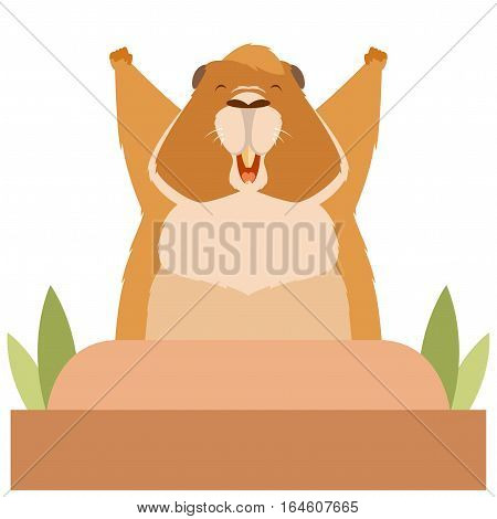 Vector image of the Groundhog wakes up