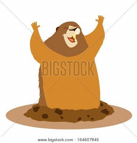 Vector image of the Happy greeting groundhog