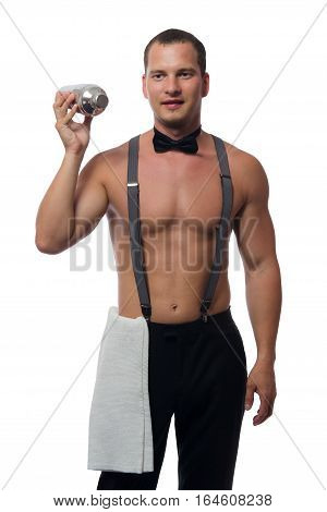 Bartender without outer clothing with a cocktail shaker on a white background