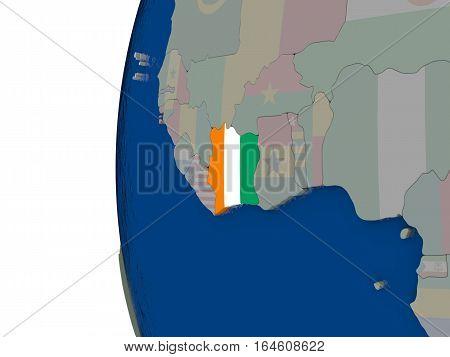 Ivory Coast With National Flag