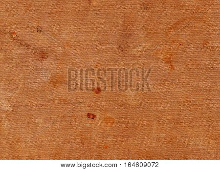 Dirty Orange Textile Surface With Different Spots.