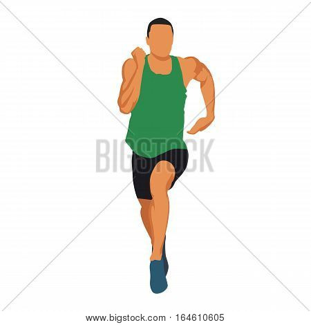 Running man in green jersey muscular athlete front view. Abstract vector illustration