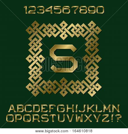 Golden angular letters and numbers with initial monogram in decorative square frame. Beautiful presentable font kit for logo design.