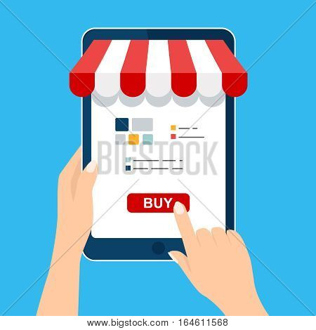 Mobile and online shop concept. Hand holding and Touch on tablet. Digital Marketing, store, Ecommerce shopping. Striped awning, phone screen buy. Vector cartoon flat illustration for web, mobile app