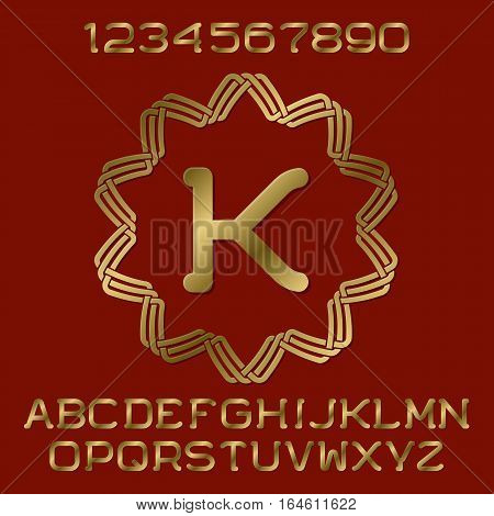 Golden polished letters and numbers with initial monogram in decorative round frame. Beautiful presentable font kit for logo design.